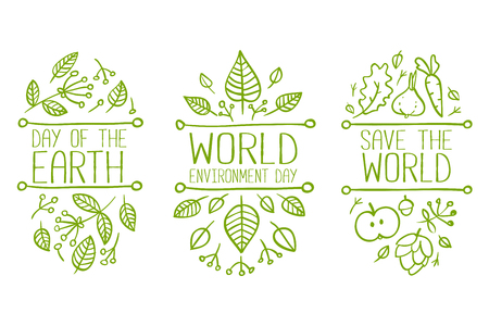 World environment day, Earth Day, Save the World hand drawn lettering doodle card, poster. Vector illustration with leaves. Concept on white background