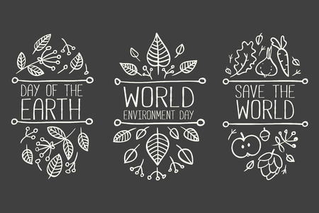 world in hand: World environment day, Earth Day, Save the World hand drawn lettering doodle card, poster. Vector illustration with leaves. Concept on black background Illustration