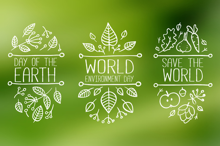 world in hand: World environment day, Earth Day, Save the World hand drawn lettering doodle card, poster. Vector illustration with leaves. Concept on blurred background