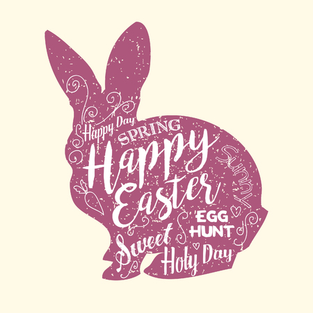 Vector lettering.Typographical Background. Isolated on white background.Happy Easter card illustration with easter rabbit.Hand made lettering