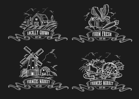 Farmers market vector set. Farm Monochrome medieval badge vintage engraving sign isolated on white background. Organic food Sketch hand drawn illustration. Locally grown, fresh food retro doodle
