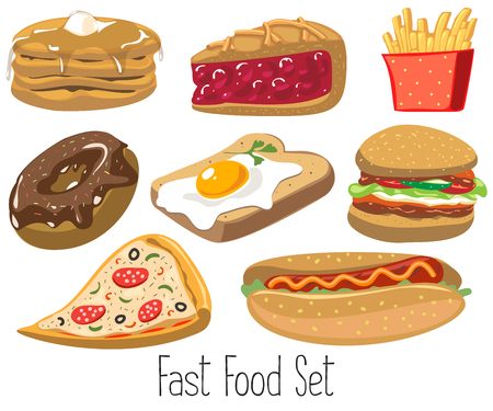 Set of cartoon fast food. Vector illustration, isolated on white. Pizza, pie, hamburger, egg, toast, pizza, donut, hot dog, fries, pancakes