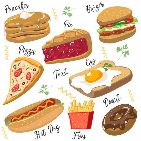 Set of cartoon fast food. Vector illustration, isolated on white. Pizza, pie, hamburger, egg, toast, pizza, donut, hot dog, fries, pancakes