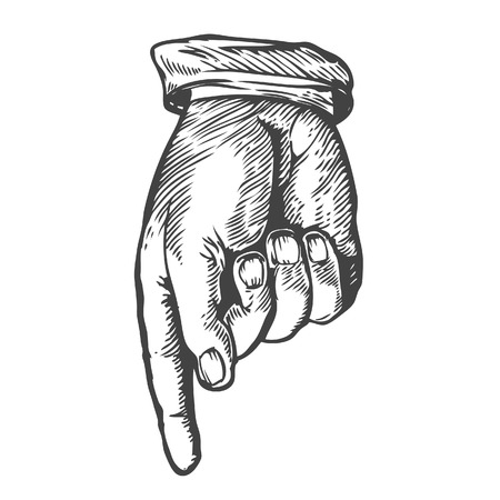 Pointing down finger Vector illustration. Engraving style.