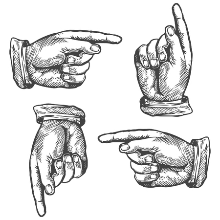 Pointing up down left right finger Vector illustration. Engraving style. Stock Illustratie