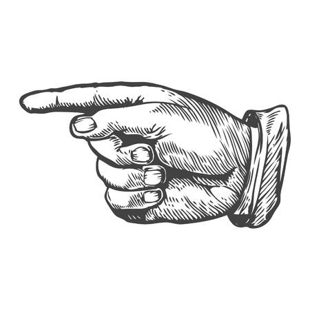 Wijzende vinger links Vector illustratie. Graveren stijl. Vector Illustratie
