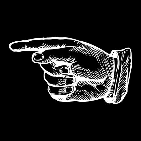 Pointing left finger Vector illustration. Engraving style. Иллюстрация