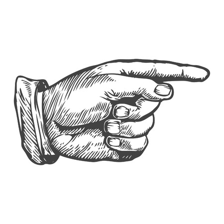 Pointing right finger Vector illustration. Engraving style.