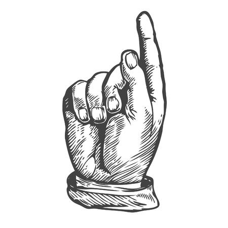 Indicando sulla dito vettore. stile incisione.