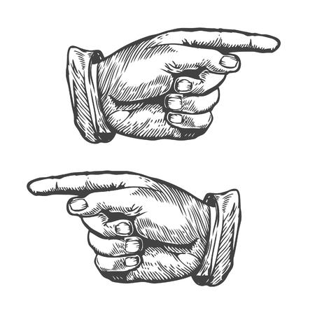Señalando el dedo ilustración vectorial. Mano con el dedo acusador izquierdo y derecho. Retro vintage mano con dedo acusador, estilo de grabado. Ilustración de vector