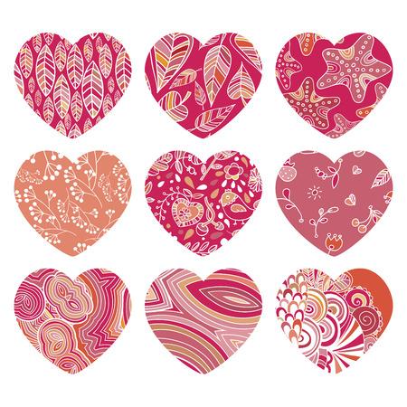 Valentine heart vector set, love symbol, pattern, pictogram. Retro vintage Patterned hearts with the other illustrations Иллюстрация