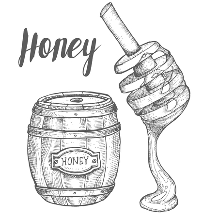 Honey jar, barrel, spoon, vintage vector set. Engraved organic food hand drawn sketch illustration. Иллюстрация