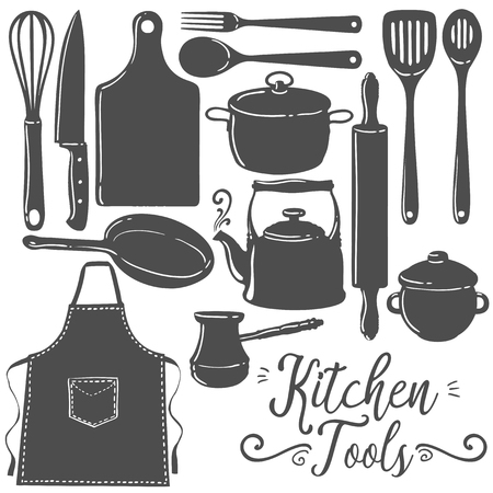 objects equipment: Kitchen tools, baking, pastry silhouette flat vector set. Icon, emblem kitchen utensils cooking tools collection. Black kitchenware and food preparation equipment objects isolated on white background.