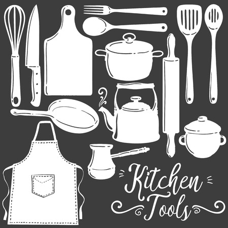 Kitchen tools, baking, pastry silhouette flat vector set. Icon, emblem kitchen utensils cooking tools collection. White kitchenware and food preparation equipment objects isolated on black background. Illustration