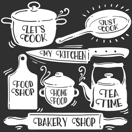 pots: Kitchen tools related typography set. Bakery shop, Tea time, Let`s cook, home food, food shop, my kitchen, just cook. Quotes about cooking. Retro Vintage vector collection illustration. White on black