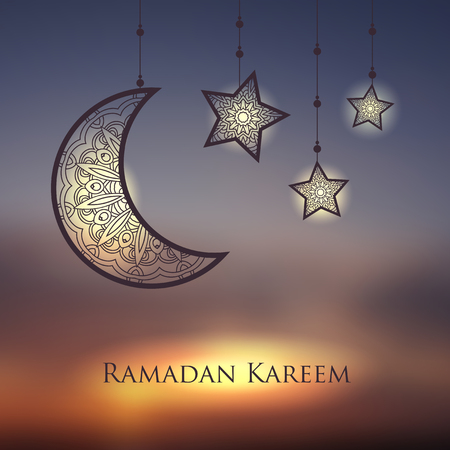 Ramadan Kareem background with ornamental moon and stars.  Greeting card, invitation for muslim community holy month on blurred. Vector illustration
