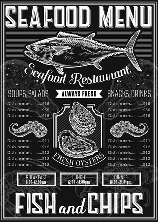 chalkboard: Seafood background restaurant menu with traditional dish. meal. Sea food hand drawn engraved vector illustration, oyster, octopus, tuna, salmon, fish. Retro vintage label ocean seafood. Chalkboard