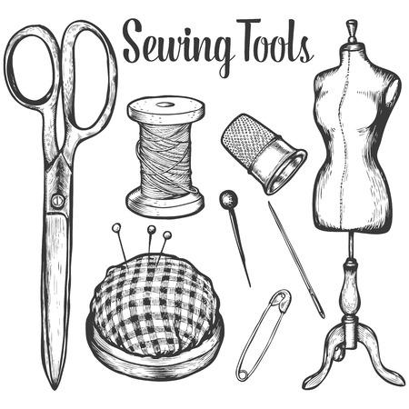 Naaigereedschap Vector verzameling van zeer gedetailleerde handgetekende breienobjecten. witte achtergrond Vector Illustratie