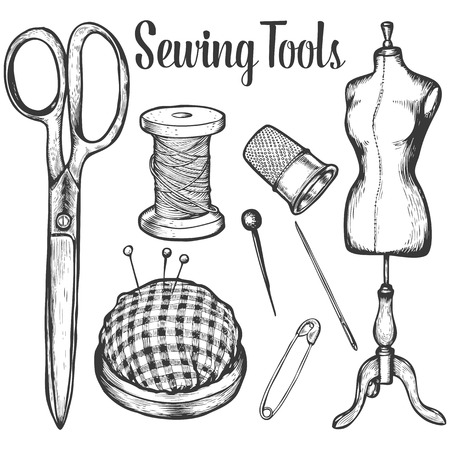 sewing: Sewing tools Vector set collection of highly detailed hand drawn knitting objects. White background