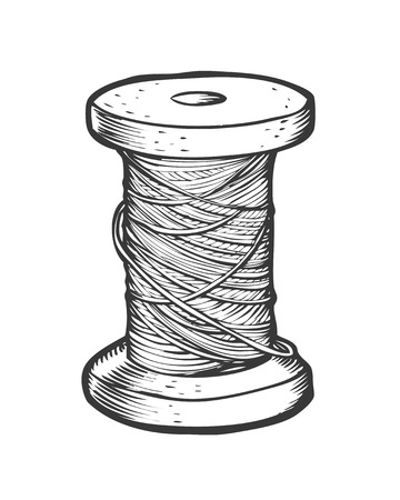 Spool of thread vector isolated illustration. Hand drawn doodle sketch sewing tool. Stock Illustratie