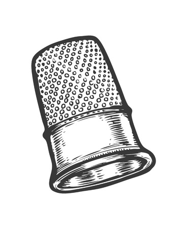 Thimble vector isolated illustration. Hand drawn doodle sketch sewing tool.
