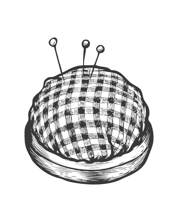 Pin cushion vector isolated illustration. Hand drawn doodle sketch sewing tool.