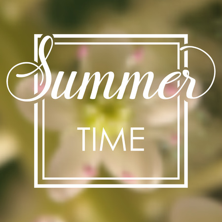 Summer time vacations blurred background with white flower. Minimalistic multifunctional media backdrop. Editable. Summer time. Vector hand lettering summer inspirational typography frame poster