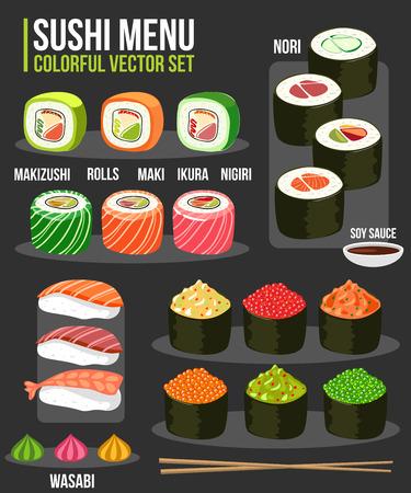 Sushi set of various different japanese food types. Sushi, maki, nigiri, soy sauce, wasabi, rolls. Sushi vector flat style symbol collection. Japanese cuisine.