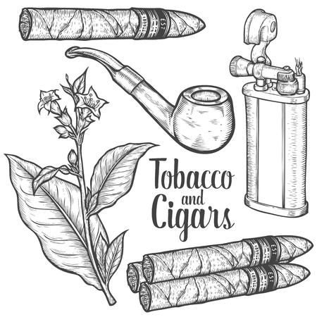 Set of vintage smoking tobacco elements. Monochrome style. Lighter, cigarette, cigar, pipe, tobacco leaf. Vector hand drawn vintage engraved black illustration isolated on white background. Иллюстрация