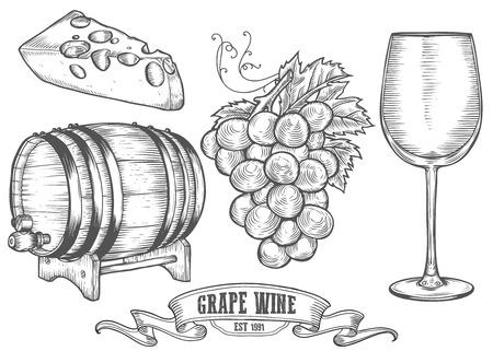 Wijn set. Wijnmaken producten in schets retro vintage stijl. Hand getrokken Vector sketch illustratie met wijnvat, druiven, glas wijn, kaas, druiven takje. Classical alcoholische drank. Stock Illustratie