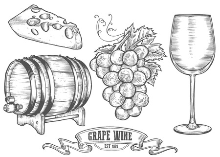alcoholic drink: Wine set. Winemaking products in sketch retro vintage style. Hand drawn Vector sketch illustration with wine barrel, grapes, wine glass, cheese, grape twig. Classical alcoholic drink. Illustration