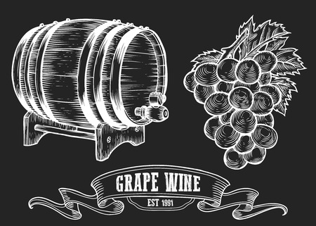 Wine set. Winemaking products in sketch retro vintage style. Hand drawn Vector sketch illustration with wine barrel, grapes, grape twig. Classical alcoholic drink. White on black background