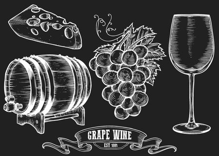 Wine set. Winemaking products in sketch retro vintage style. Hand drawn Vector sketch illustration with wine barrel, grapes, wine glass, cheese, grape twig. Classical alcoholic drink. White on black
