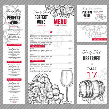 Wijn restaurant menu. Family eten. Sjabloon met de hand getekende gegraveerde schets illustratie. Wijnglas, vat, druif, kaas doodles. Stock Illustratie