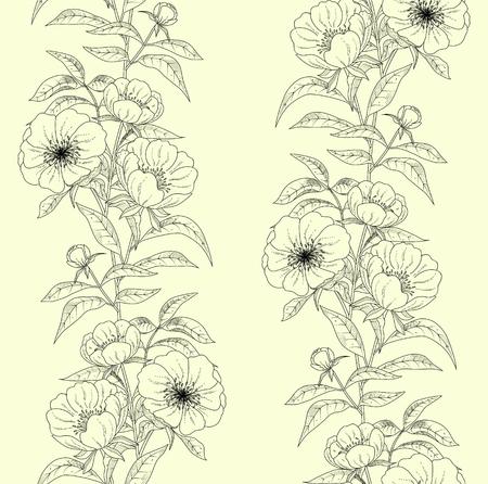 Bloemen naadloos patroon met pioenen. Stock Illustratie