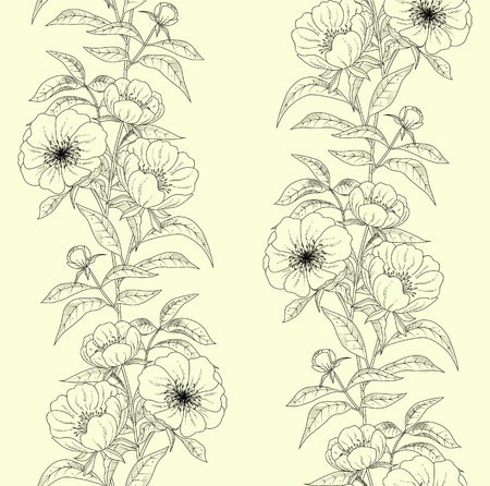 Floral seamless pattern with peonies. Иллюстрация