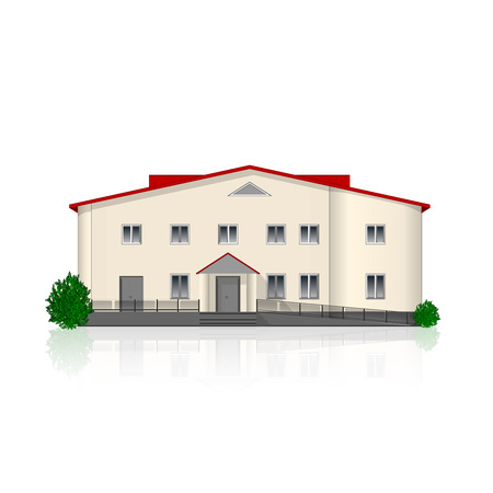 Separately standing office building isolated on white background with reflection and bushes.