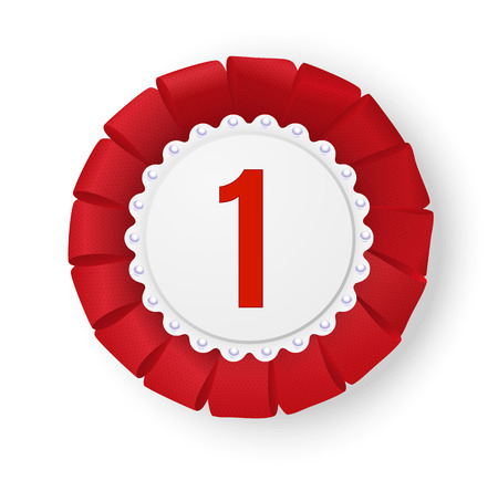 Realistic red fabric award ribbon badge.