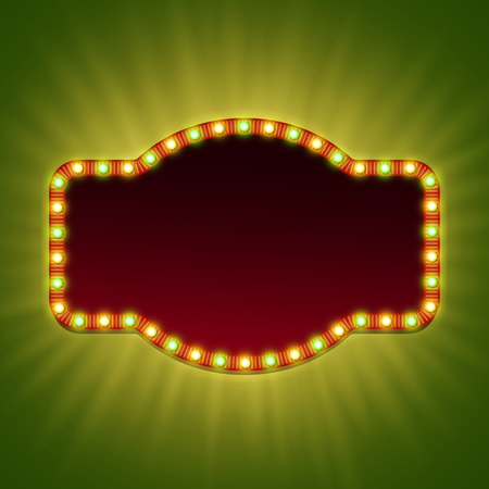 Blank 3d retro light banner with shining bulbs. Red frame with red and green lights and blank space for your advertising text.