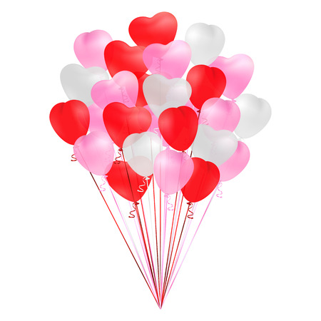 Bunch of transparent realistic heart shaped balloons of red, pink and white colors isolated on white background. Decoration for Birthday, Valentines Day, romantic cards design. Vector illustration.