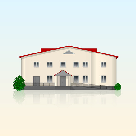 separately: Realistic separately standing office building with beige plastered front and reflection. Bright contemporary facade with ramp and bushes. Vector illustration.