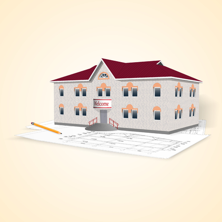 separately: Realistic separately standing brick office building with drawings and pencil. Perspective view. Vector illustration. Illustration