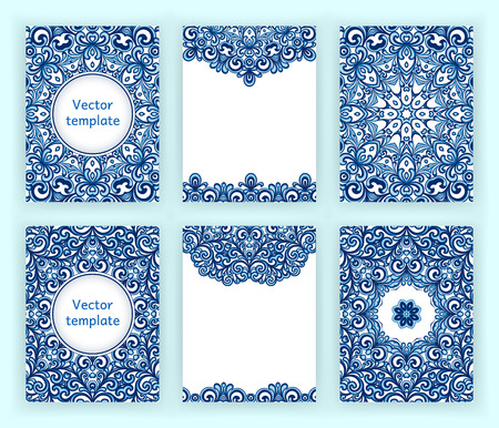 gzhel: Templates for flyer, banner, brochure, invitation, placard, poster, greeting card. Abstract backgrounds with mandalas in gzhel style. Vector illustration.