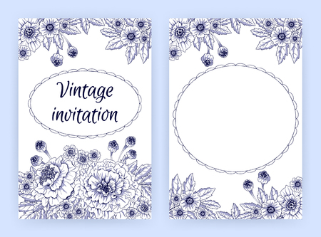 flourishing: Greeting card with marigolds. Floral template for flyer, banner, brochure, invitation, poster. Flourishing natural background with blooming flowers in vintage graphic style. Vector illustration.