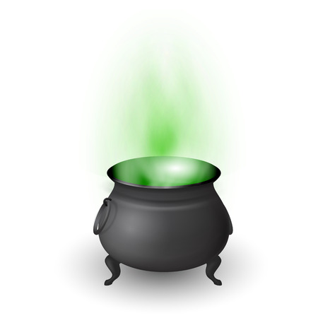 magic cauldron: Cartoon Halloween witch cauldron with potion and stream isolated on white background. Black pot with magic brew. Vector illustration.