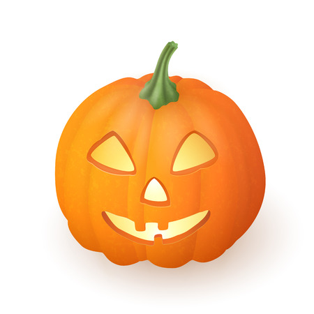 Cartoon funny Jack O Lantern halloween pumpkin with candle light inside isolated on white background. Vector illustration.
