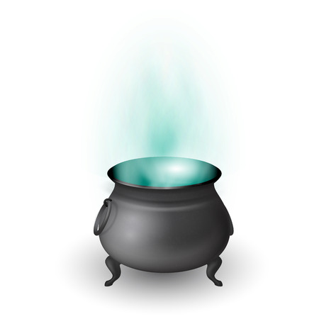 hallowen: Cartoon Halloween witch cauldron with potion and stream isolated on white background. Black pot with magic brew. Vector illustration.