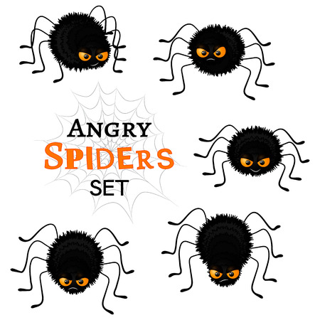 wicked set: Cartoon scary black spiders set isolated on white background. Funny insects characters with angry faces and orange eyes. Flat Halloween elements collection for your design. Vector illustration