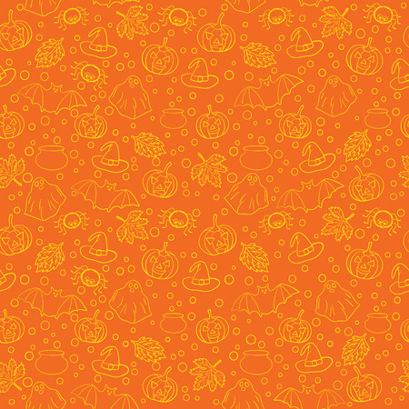 Halloween seamless pattern with spiders, witch cauldron, bat, ghost, pumpkin, leaves and bubbles on orange background. Decoration for greeting card, poster, banner, flyer design. Vector illustration