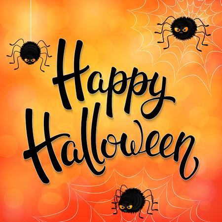 Halloween wenskaart met boze spinnen, net en zwarte borstel letters op oranje achtergrond met bokeh elementen. Decoratie voor poster, banner, flyer design. vector illustratie